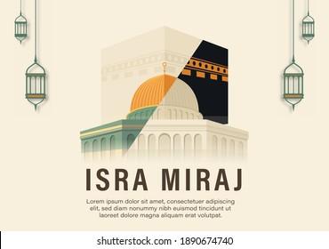 Al-Isra wal Mi'raj Translate: The night journey Prophet Muhammad Vector Illustration For Poster Template and Flyer, Simple Background of Isra Mi'raj Ceremony