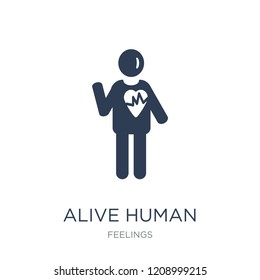 alive human icon. Trendy flat vector alive human icon on white background from Feelings collection, vector illustration can be use for web and mobile, eps10