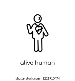 alive human icon. Trendy modern flat linear vector alive human icon on white background from thin line Feelings collection, editable outline stroke vector illustration