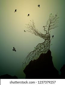 alive tree on the rock and titmouse, tree soul, man like tree giving his hand branch to flying birds, fairytale surrealism, plant alive idea, vector
