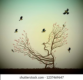 alive tree on the rock and titmouses birds, tree soul, man like tree giving his hand branch to flying birds, fairytale surrealism, plant alive idea, vector