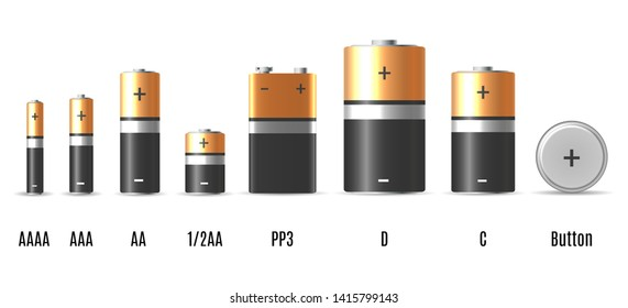 Alkaline batterie. Cylinder lithium battery vector illustration, ecology friendly metal batteries with electric chemical components
