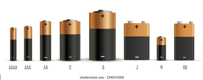 Alkaline batteries realistic style set of different size. Primary battery for personal power sources. Vector illustration