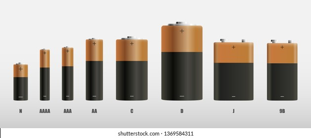 Alkaline batteries realistic style set of different sizes. Main battery for personal power supplies. Vector illustration.
