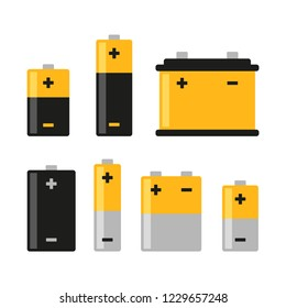 Alkaline Battery Icons Set on White Background. Vector