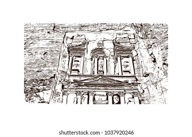 Al-Khazneh, is one of the most elaborate temples in the ancient Arab Nabatean Kingdom city of Petra. Hand drawn sketch illustration in vector.