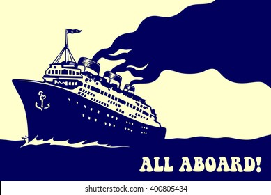 All aboard! Vintage steam transatlantic ocean cruise liner ship with smoke puff, retro traveling isolated vector illustration
