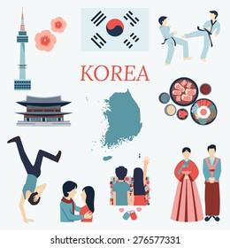 All about Korea. Flat design elements. KPOP, Korean series,flag, nation flower,taekwondo,map,tourist attractions and etc.