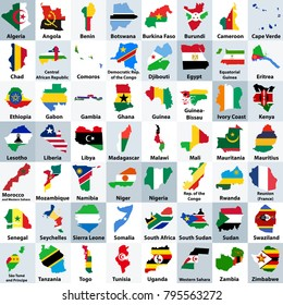 all African countries maps mixed with their national flags and arranged in alphabetical order