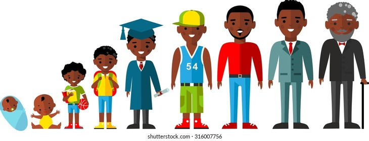 All age group of african american people.Generations man. Stages of development man - infancy, childhood, youth, maturity, old age.