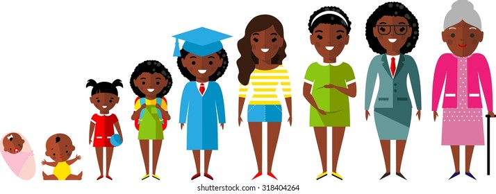 All age group of african american people.Generations woman.  Stages of development woman - infancy, childhood, youth, maturity, old age.