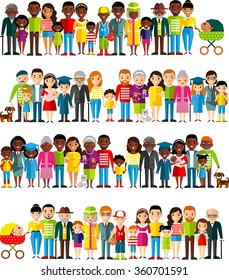 All age group of african american, european people. Generations man and woman.  Stages of development people - infancy, childhood, youth, maturity, old age.