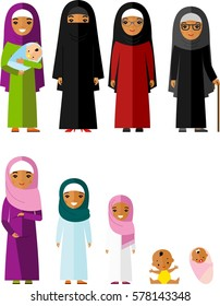 All age group of arab family. Generations muslim woman. Stages of islam development people - infancy, childhood, youth, maturity, old age.