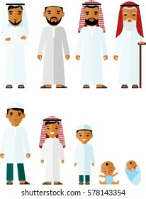 All age group of arab family. Generations muslim man. Stages of islam development people - infancy, childhood, youth, maturity, old age.