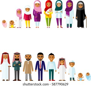 All age group of arab family. Generations muslim man and woman. Stages of islam development people - infancy, childhood, youth, maturity, old age.