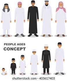 All age group of arab man family. Generations man. Stages of development people - infancy, childhood, youth, maturity, old age. Arab people generations at different ages isolated in flat style.