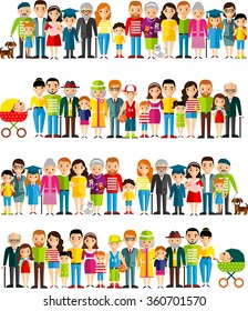 All age group of european people. Generations man and woman.  Stages of development people - infancy, childhood, youth, maturity, old age.