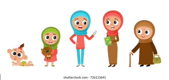 All age group of muslim woman in cartoon style isolated on white. Female characters, the cycle of life, stages of growing up from baby to grandmother - infancy, childhood, youth, maturity, old age.