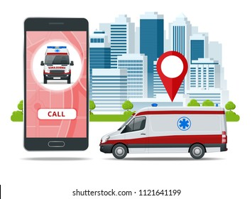 all ambulance car via mobile phone, emergency call. Ambulance car, hands dialing number ambulance service operator, hospital building. Sos mobile concept for web banner, web site, infographics