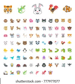 All animals emojis, emoticons, zoo animals colorful world sea wildlife, fish types, insects flat vector illustration symbols icons, stickers, collection set pack