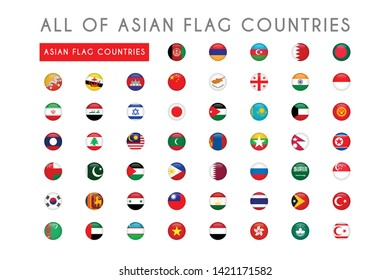 All of Asian countries flag round 3d vector illustration