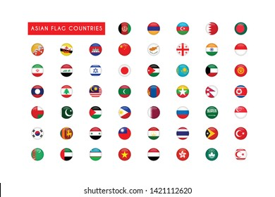 All Asian flag countries round 3d vector illustration