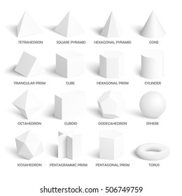 All basic 3d shapes template. Realistic with shadow. Perfect for school, study, designers