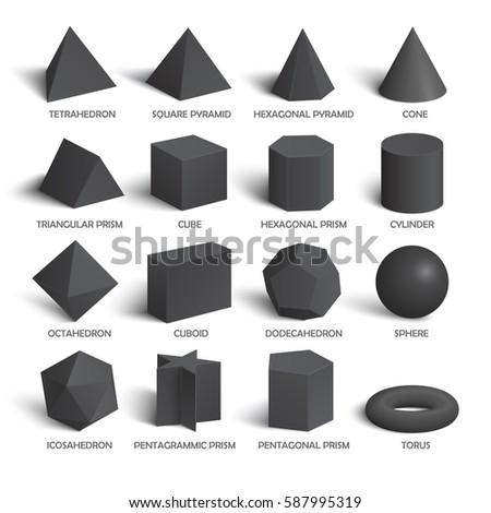 all basic 3 d shapes template dark のベクター画像素材 ロイヤリティ