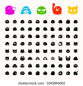 All basic face emojis, emoticons, emotions flat vector illustration symbols. Faces, kisses feelings, situations, shy, embarrassed, smile, mood, joke, laugh, cry, happy, smileys icons set, collection