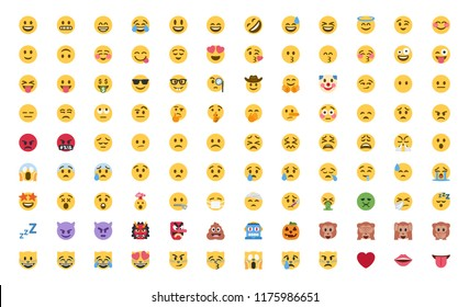 All basic face emojis, emoticons, emotions flat vector illustration symbols. Hands, faces, feelings, situations, shy, embarrassed, smile, mood, joke, lol, laugh, cry, happy icons