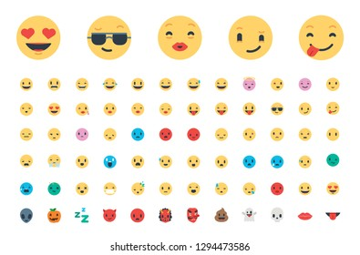 All basic face emojis, emoticons, emotions flat vector illustration symbols. Faces, feelings, situations, shy, embarrassed, smile, mood, joke, lol, laugh, cry, happy icons - Vector. Updated.