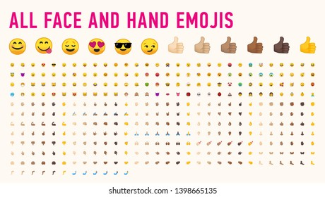 All basic hand and face emojis, emoticons, emotions flat vector illustration symbols. Hands, faces, feelings, situations, shy, embarrassed, smile, mood, joke, lol, laugh, happy icons.