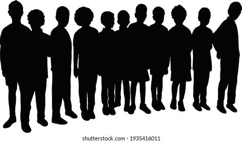 all children together, silhouette vector