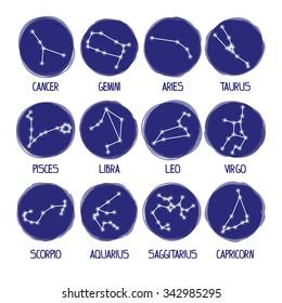 All constellation of zodiac signs. Stars horoscope set. Aries, Taurus, Gemini, Cancer, Leo, Virgo, Libra, Scorpio, Sagittarius, Capricorn, Aquarius, Pisces