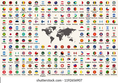 All countries flags of the world  in circular form design, arranged in alphabetical order, with original colors and high detailed emblems. Map of the world. Vector illustration