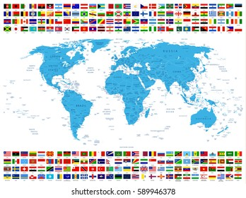 All Country Flags and World Map. All elements are separated in editable layers clearly labeled.