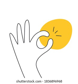 All done, everything is all right or great. Hand OK sign. Communication gestures concept. Flat clean linear vector illustration on white