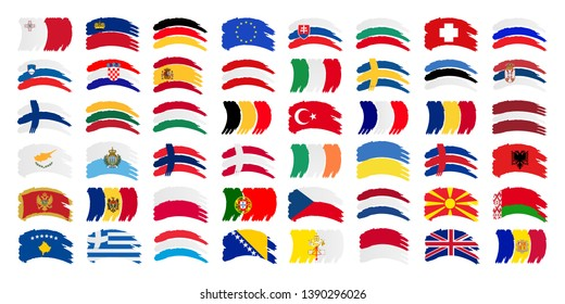 All Europe Flags and Every European Flags Vector Set