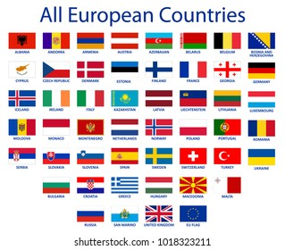 All European countries flags EU countries original color Official flag Vector EPS 10
