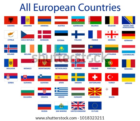 all european countries flags eu countries stock vector royalty free