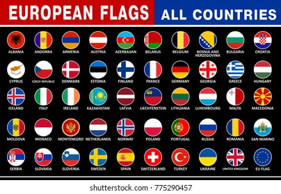 All European Country flags circle
