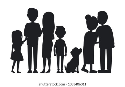 All family members gathered together, vector card isolated on white backdrop, grandparents with children and grandchildren, family`s pet silhouette
