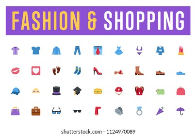 All fashion, clothes, shopping collection vector illustration flat style symbols, emoticons, emojis, icons set, stickers pack