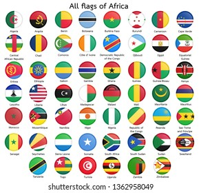 All flags of Africa.circular design.Vector.
