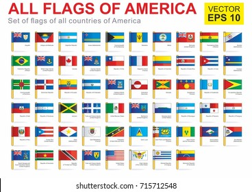 All flags of America, the full vector collection. Full Vector Collection Vector Set of American Flags - North America, Central America, South America