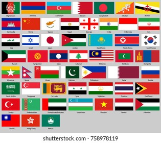 all flags of Asia. Correct size, proportion, colors