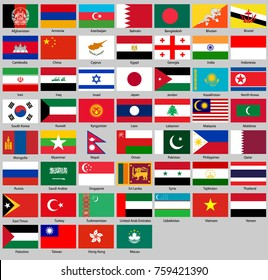 all flags of Asia. in proportion 2:3