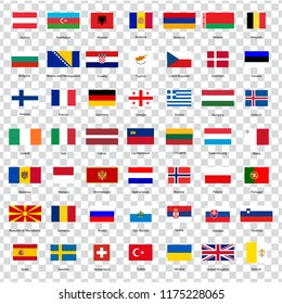 All flags of the countries of the European Union. List of all flags of European countries with inscriptions and original proportions on transparent background. Flags for your web site design, logo.