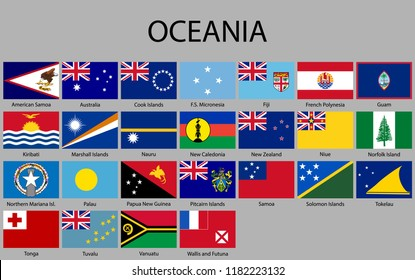 all flags of Oceania. Vector illustration