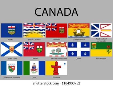 all Flags provinces of Canada. Vector illustration